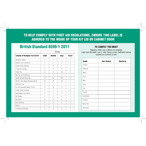 BS-8599-1 Compliant Contents List Label